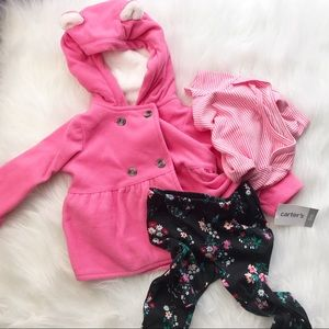Carters baby girl PINK 3pc winter outfit NWT 9 mo